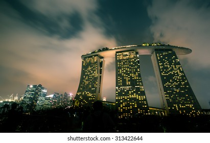 Night view of Marina Bay Sands in Singapore.