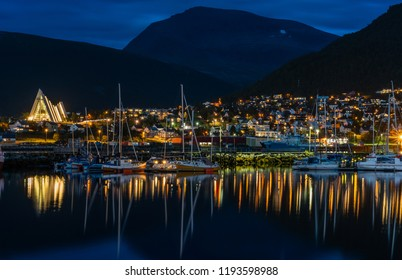 Night view of marina in Tromso in Norway.