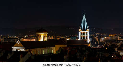 The night view of medieval insular palace Palais de l'Ile jail in Annecy city, France