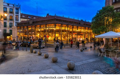 Night view of Mercado San Miguel in Madrid, Spain. Mercado San Miguel of Madrid is one of the most popular landmark in Madrid, Spain. Architecture and landmark of Madrid.