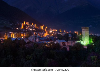 Night view of Mestia - ancient mountain city in Svaneti, Georgia