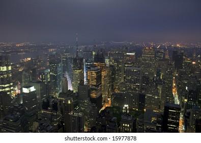 Night view of Midtown Manhattan in New York City.
