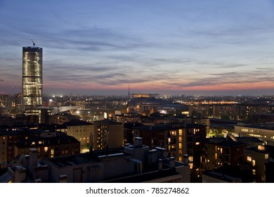 NIGHT VIEW OF MILAN FROM THE UP