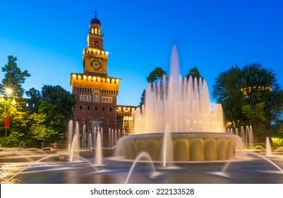 Night view of Milan Sforza Castle (Castello Sforzesco) in Milan, Italy. Architecture and landmarks of Milan