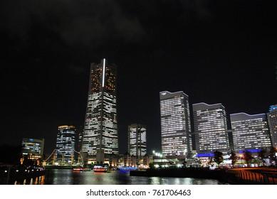 night view of Minato Mirai district in Yokohama, Japan
