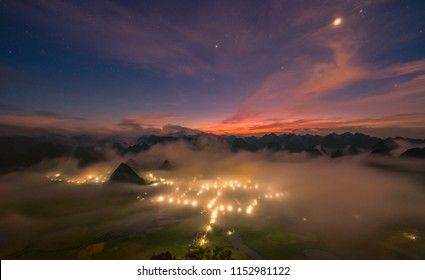 Night view from misty high mountain down town in Lang Son province, Vietnam.