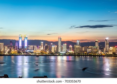 Night view of modern Chinese city