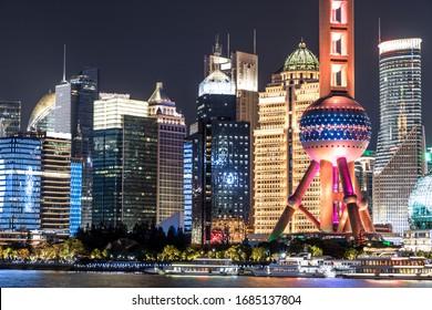 Night view of modern city in Shanghai, China