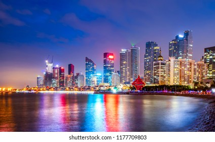 Night view of modern urban architecture landscape in Qingdao