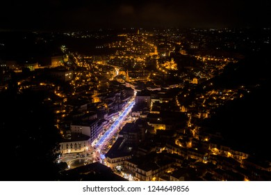 Night view of Modica in southeastern Sicily
