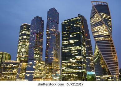 Night view of Moscow City, modern part of Moscow, high tech skyscrapers around business part of city, Russia