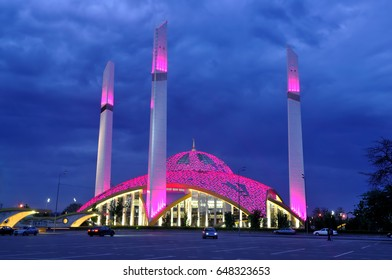 Night view of the mosque in the city of Argun. Chechnya