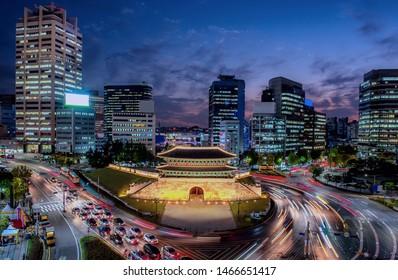 Night view of namdaemun traditional gate in seoul city south Korea