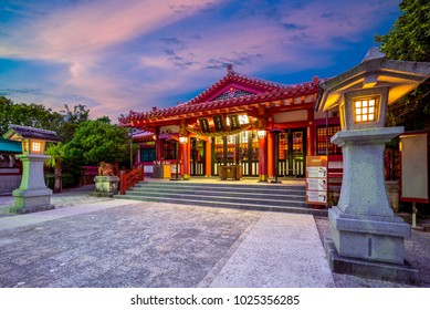 """Night view of Naminoue Shrine in okinawa. the chinese characters mean """"Naminoue shrine"""""""