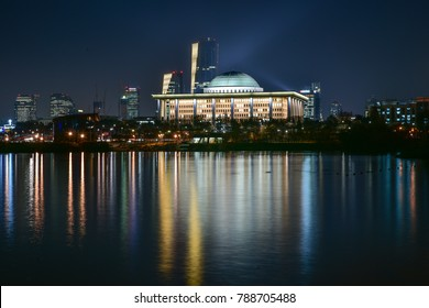 A night view of National Assembly Building in Seoul, Korea, seen across the river