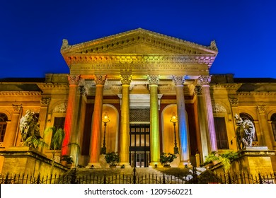 Night view of Neoclassical Opera House (Teatro Massimo Vittorio Emanuele, 1897) at Piazza Verdi in Palermo, Sicily, Italy. Palermo Teatro Massimo is largest in Italy and second-largest in Europe.