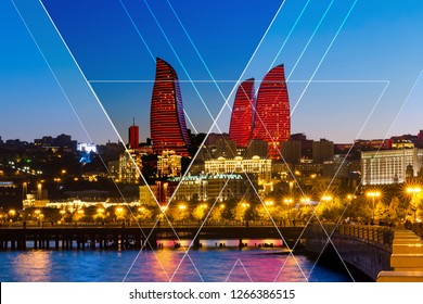 Night view of the new skyscrapers in Baku