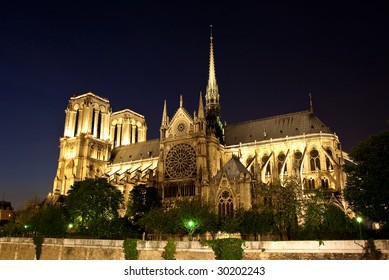 night view of Notre Dame Paris France