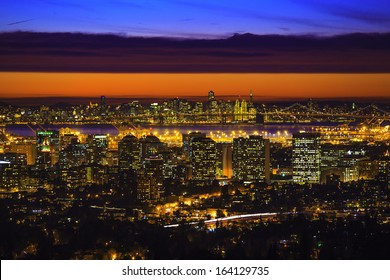 A night view of Oakland and San Francisco