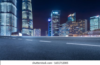 Night view and office building of architectural street in Lujiaz