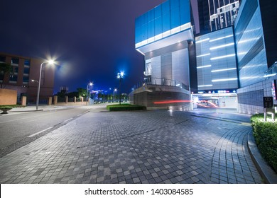 night view of office buildings in a financial centre in chongqing, china.