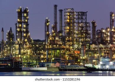 Night view of an oil factory in Yokohama, Japan.