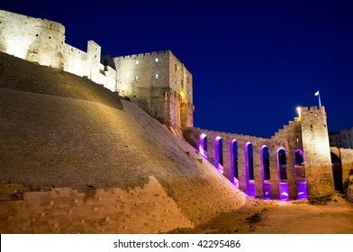 Night view of the Old Citadel of Aleppo, Syria