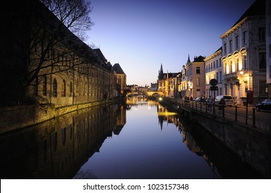 Night view old town zone at Ghent, Belgium