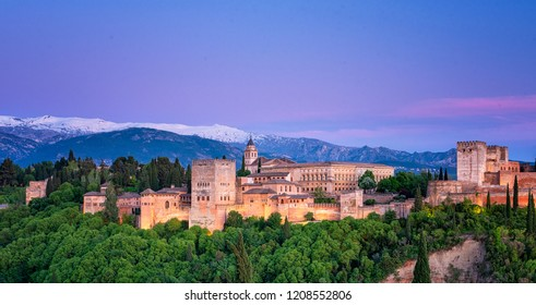 Night view on Alhambra, Granada