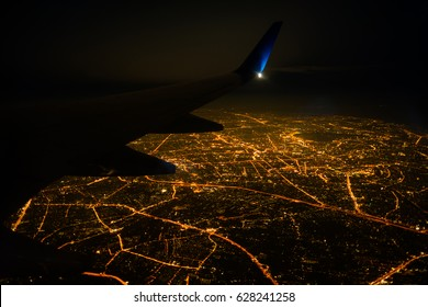 Night view on Bangkok  from airplane, Thailand