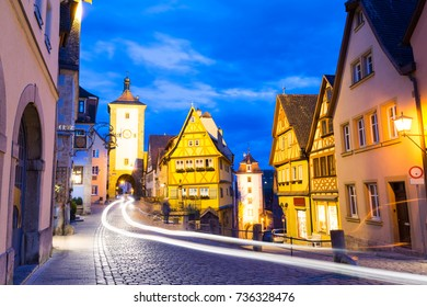night view on bavarian town Rothenburg ob der Tauber, Germany