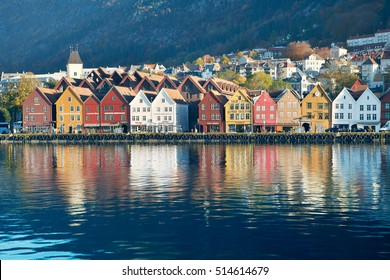 Night view on Bergen, Bryggen, Norway