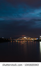 Night view on Bratislava the capital of Slovakia on Danube River. Lighted Castle, bridges and panorama.