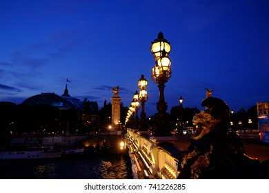 Night view on the bridge in paris, France
