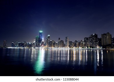 Night View On Chicago Skyline
