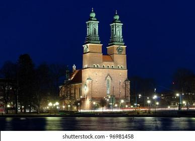 Night view on Cloisters Church (Klosters kyrka) in Eskilstuna, Sweden