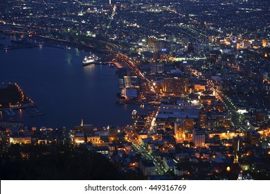 Night view on the Hakodate View point in Japan.