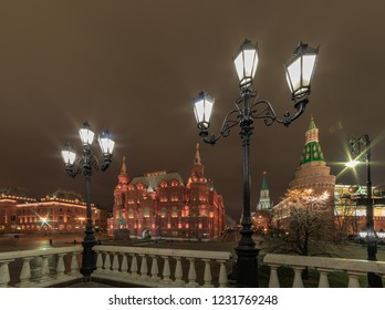 Night view on the Historical Museum at the Red Square in Moscow