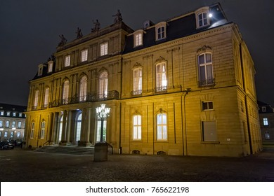 Night view on illuminated New Palace. Stuttgart, Germany.