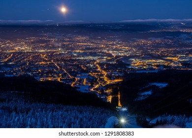 Night view on Liberec from Jested