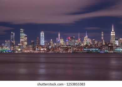Night view on Midtown Manhattan with long exposure