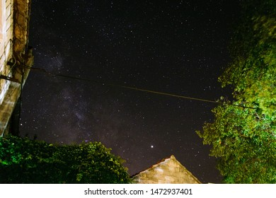 Night view on the Milky way centre and constellations Sagittarius, Scutum and Aquila with planet Jupiter in the center and constellation Ophiuchus