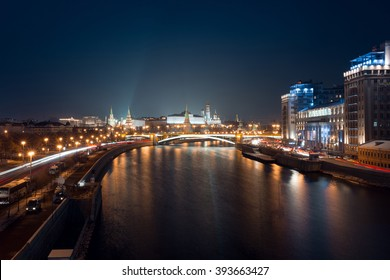 Night view on Moscow Kremlin, Moscow river, embankment and car traffic lights from Patriarchal bridge, Moscow 2015