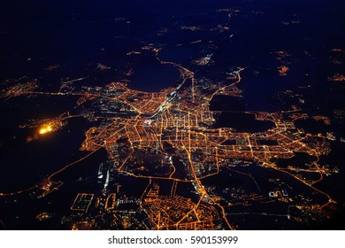 Night view on Novosibirsk from airplane, Russia