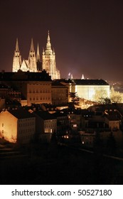 The night View on Prague gothic Castle