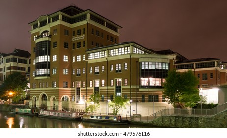 Night view on The Royal Bank of Scotland Group Building (A) in Bristol Temple Quay horizontal photography