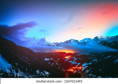 Night view on snowy peaks of Saint-Luc mountains, Alps Switzerland. Nature background