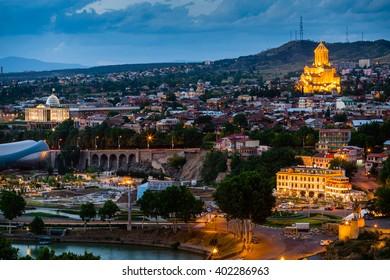 Night view on Tbilisi in Georgia