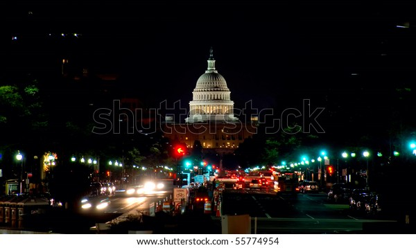 Night view on US Capitol from Pennsylvania avenue