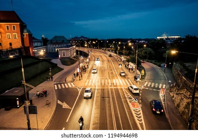 night view on Warsaw from the bridge of the central square, Poland